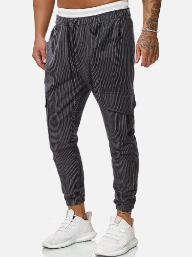 Men's Jogger Pants Pocket Striped Fashion Drawstring Waist Ankle-Tied Casual Mid Waisted Slim Full Length