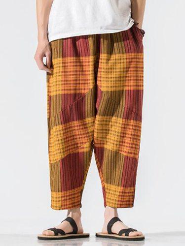 Men's Wide Leg Pants Plus Size Elastic Waist Full Length Mid Waisted Casual Loose