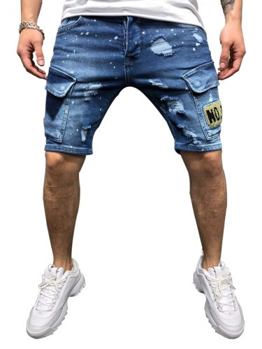 Men's Shorts Pocket Frayed Letter Short Mid Waisted Sports Patchwork