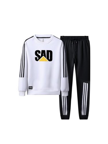Men's 2 Pcs Pants Set Letter Pattern Sweatshirt Pattern Pants Plus Size Crew Neck Striped Long Sleeve Fashion