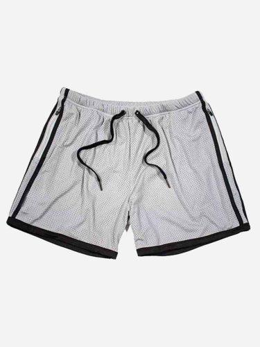 Men's Active Shorts Patchwork Drawstring Pocket Casual Short Straight Pants Fashion Drawstring Waist Striped Regular Mid Waisted Elastic Waist Thin