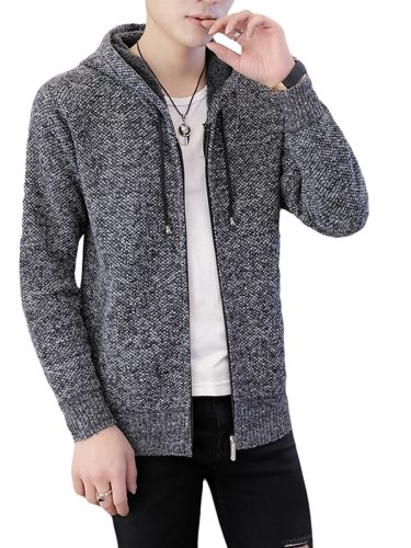 Men's Cardigan Hooded Solid Color Button Fashion Casual Going Out Turn Down Collar Long Sleeve Plus Size