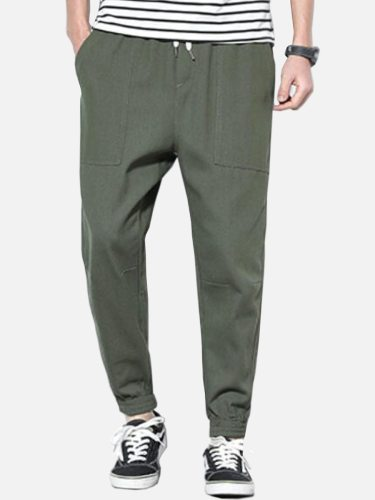 Men's Pants Drawstring Waist Solid Color Slim Loose Ankle-Tied Full Length Casual Mid Waisted Elastic Waist