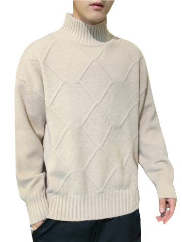 Men's Sweater Solid Color Long Sleeve Casual Geometric Turtle Neck Slim