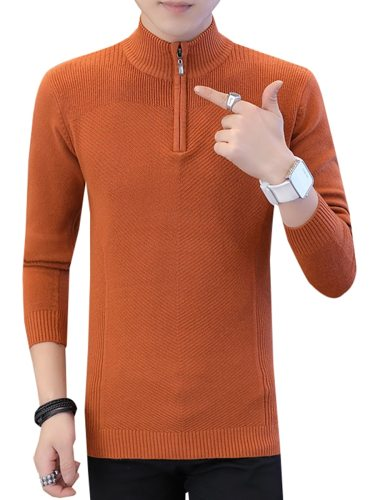 Men's Sweater Good Quality Zipper Cozy Comfy Skin-Friendly Slim Casual Patchwork Long Sleeve Stand Collar