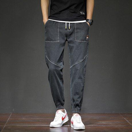 Men's Jeans Pockets Solid Color Denim Loose Patchwork Mid Waisted