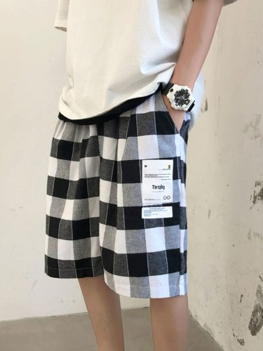 Men's Casual Shorts Checker Pattern All-Match Short Regular Elastic Waist Colorblock Mid Waisted