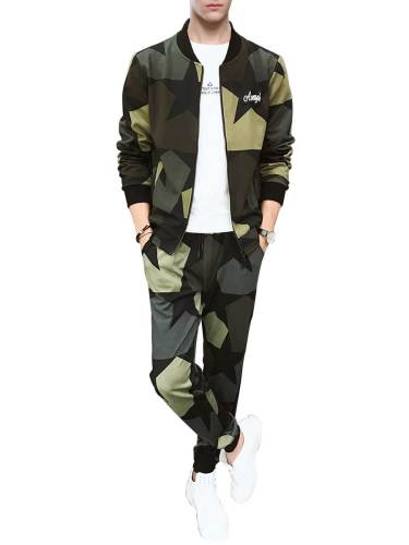 Men's 2 Pcs Pants Set Pattern Jacket Outdoor Wearable Pants Fashion Camouflage Long Sleeve