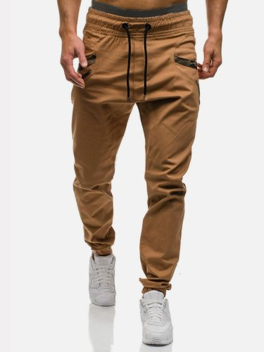 Men's Harem Pants Casual Solid Color Pockets Mid Waisted Fashion Full Length Ankle-Tied Elastic Waist