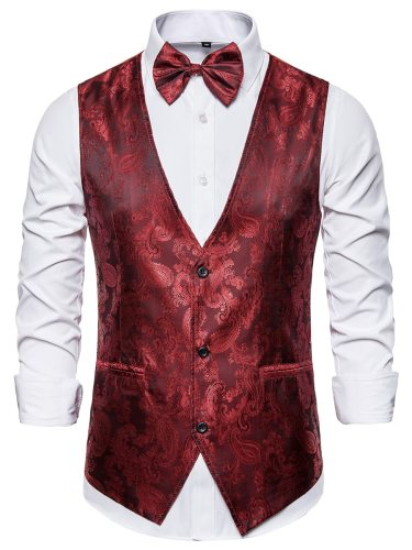 Men's Vest Jacket V Neck Low Elasticity Bow Formal Single Breasted