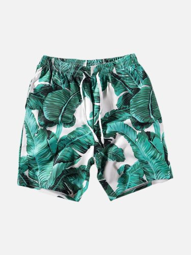 Men's Beach Shorts Casual Drawstring Short Print Mid Waist Elastic Waist