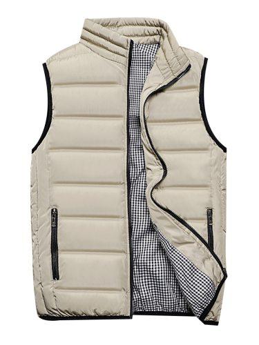 Men's Vest Jacket Casual Stylish Stand Collar Fashion Zipper