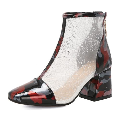 Women's Bottine Fashion Thick Heel Elegant mid calf boots Thick Heels Shoes Holiday Middle Age30-50 Patchwork Patent Leather/Bright Leather 65 cm Toe
