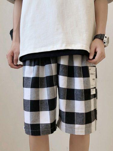Men's Casual Shorts Checker Pattern All-Match Short Regular Elastic Waist Colorblock Mid Waisted