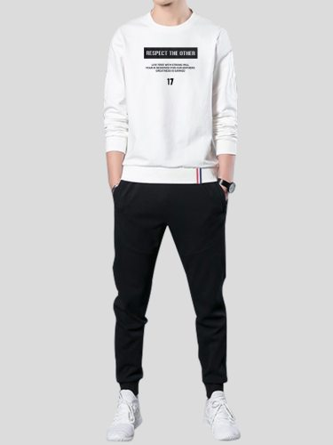 Men's 2Pcs Set Sweatshirt Harem Pants Long Sleeve Crew Neck Plus Size Fashion Print