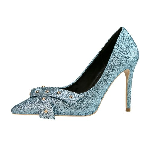 Zaitun Women's High-Heeled mps Glitter Rivet Bow Classic Slip On Stiletto Pointed toe High65-13CM 10 cm PU Shoes Party Slip-On Simple
