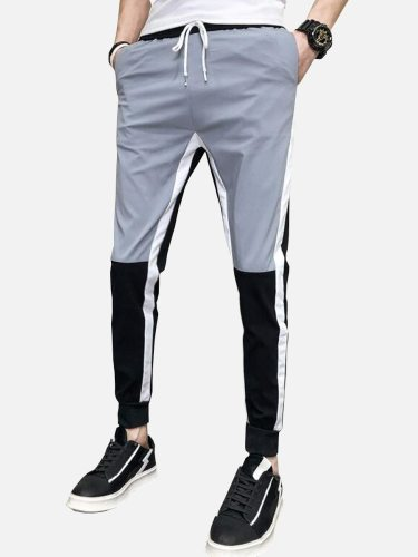 Men's Casual Pants Color Block Drawstring Waist Ankle Tied Full Length Fashion Ankle-Tied Elastic Waist Mid Waisted Slim