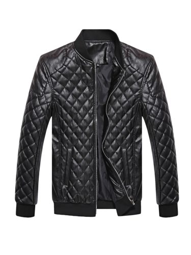 Men's Synthetic Leather Jacket PU Breathable Solid Color Casual Slim Zipper Long Sleeve Plaid Thicken