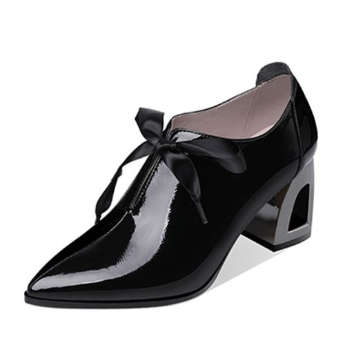 Women's High -Heeled Pumps Thick Heel Pointed Toe Solid Color Thick Heels Shoes Closed Toe Others Dance Shoe Rome Patent Leather/Bright Leather 8 cm