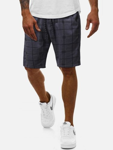 Men's Shorts Drawstring Waist Fashion Casual Short Regular Elastic Waist Plaid Mid Waisted