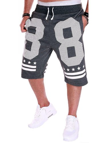 Men's Casual Shorts Letter Pattern Pocket Decor Drawstring Waist Elastic Waist Mid Waisted Print