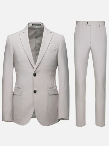 Men's 2Pcs Sets Long Sleeve Solid Color Blazer Button Suit Single Breasted Notched Date Formal