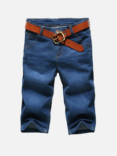 Men's Denim Shorts Simple Color Straight Cropped Slim Solid no belt Mid Waisted Button