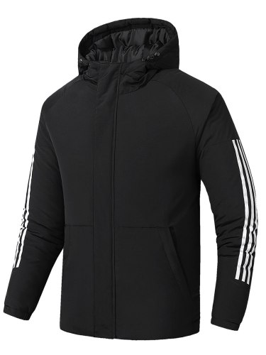Men's Quilted Coat Pocket Zipper Going Out Thicken Hooded Coats Casual Long Sleeve Striped
