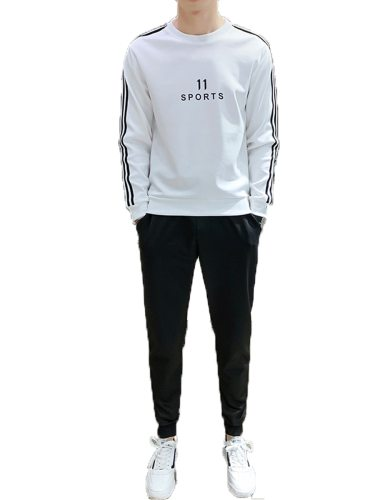 Men's 2Pcs Sets Crew Neck Letter Sweatshirt Solid Color Pants Long Sleeve Fashion Holiday Striped