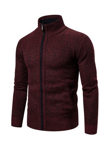 Men's Cardigan Solid Color Pocket Fashion Going Out Stand Collar Long Sleeve Thicken