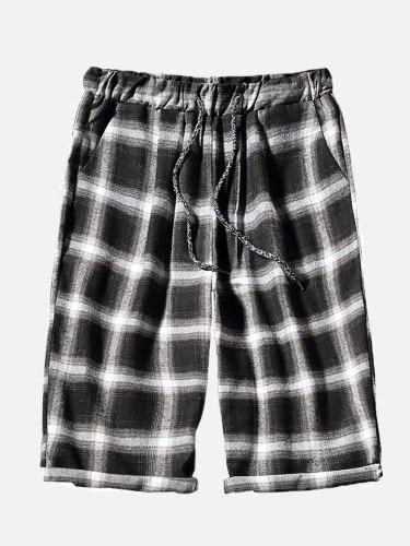 Men's Beach Casual Colorblock Short Drawstring Plaid Shorts Loose