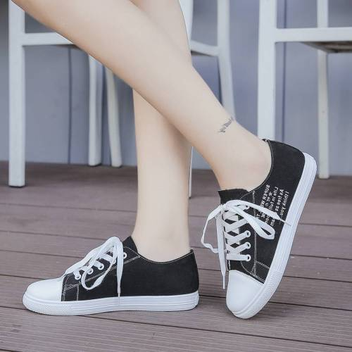 Women's Shoes Flat Lacing Casual Fashion Rubber Sole Slip-On Youth14-30Age Light Letter Canvas Top Fashion Flat0-3cm Sports & Leisure 25 cm