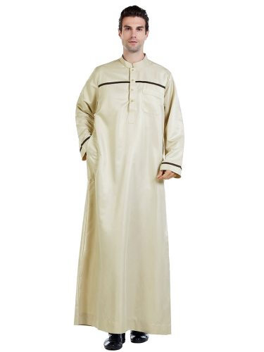 Men's Kaftan Dress Striped Long Sleeve Stand Collar