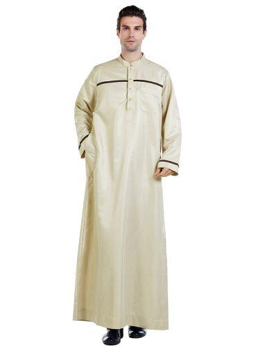 Men's Kaftan Dress Striped Long Sleeve Stand Collar