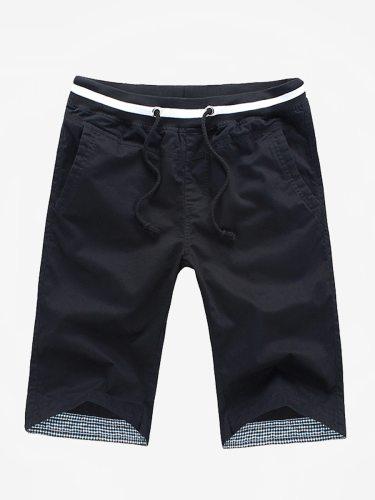 Men's Casual Drawstring Patchwork Fashion Short Shorts Elastic Waist Solid Breathable