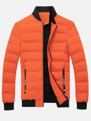 Men's Quilted Coat Color Block Patchwork Turn Down Collar Zipper Loose Long Sleeve Plus Size Geometric Regular Fashion Jackets
