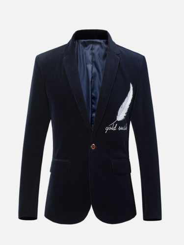 Men's Blazer Long Sleeve Feather Letter Notched Blazers Single Button Embroidery