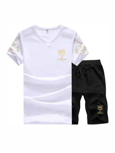 Men's 2Pcs Set V Neck T Shirt Loose Shorts Plus Size Fashion Letter Short Sleeve