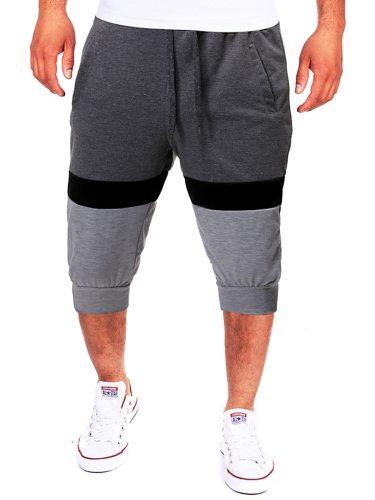 Men's Shorts Pocket Drawstring Short Mid Waisted Patchwork Elastic Waist