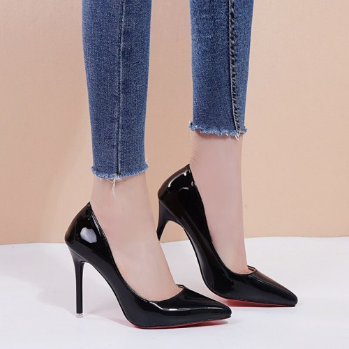 Women's High-Heeled Pumps Stiletto Slip-On Thin Heels Date Rubber Sole Pointed toe 10 cm Shoes High65-13CM Preppy Solid Color Middle Age30-50 Patent
