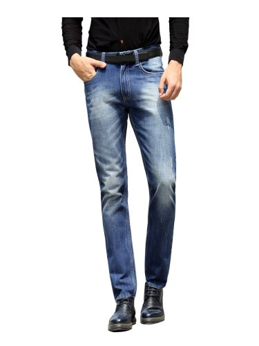 LEELFF Men's Business Straight Pipe Trendy Denim Colorblock Jeans Mid Waisted