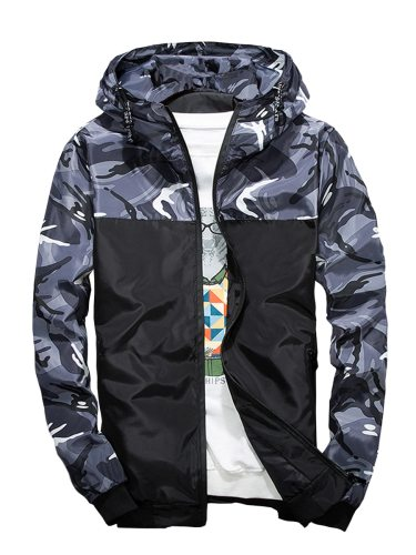 Men's Jacket Color Matching Slim Casual Zipper Plus Size Fashion Hooded Long Sleeve without the t-shirt