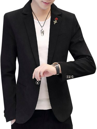 Men's Blazer Solid Color Collar Party Slim Button Notched Casual Single Breasted