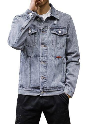 JISNEY Men's Denim Jacket Pocket Solid Color Button Going Out Plus Size Buttons Long Sleeve Turn Down Collar Fashion