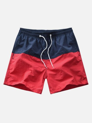 Men's Casual Shorts Colorblock Pocket Drawstrinig Patchwork Elastic Waist Mid Waisted