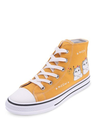 Women's Shoes Casual Round Toe Cat Print Breathable Light Fashion Sports & Leisure Letter Flat0-3cm 25 cm Rubber Sole Top Fashion Lacing Canvas