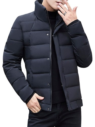 Men's Quilted Coat Solid Color Thicken Coats Stand Collar Fashion Long Sleeve Slim