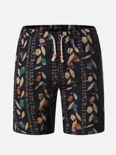 Men's Shorts Pocket Patchwork Fashion Short Mid Waisted Drawstring Waist Print