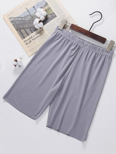 Men's Shorts Simple Solid Color Short Mid Waisted Elastic Waist Slim Beach
