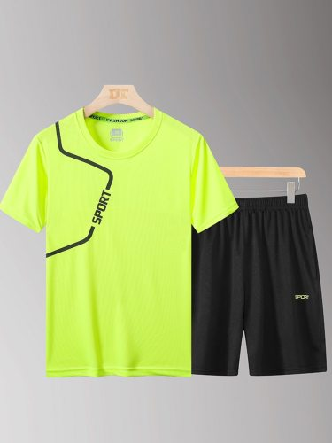 Men's 2 Pieces Fashion Letter Top Elastic Waist Pocket Shorts Sports Crew Neck Print Casual Short Sleeve